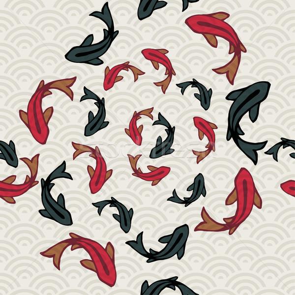 Koi poissons étang asian art Photo stock © cienpies