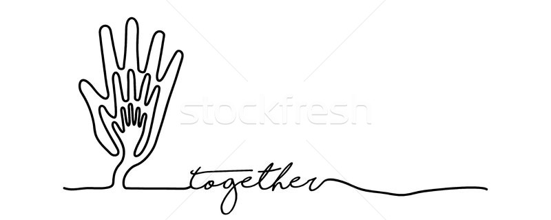 Hand tree web banner in single line style Stock photo © cienpies