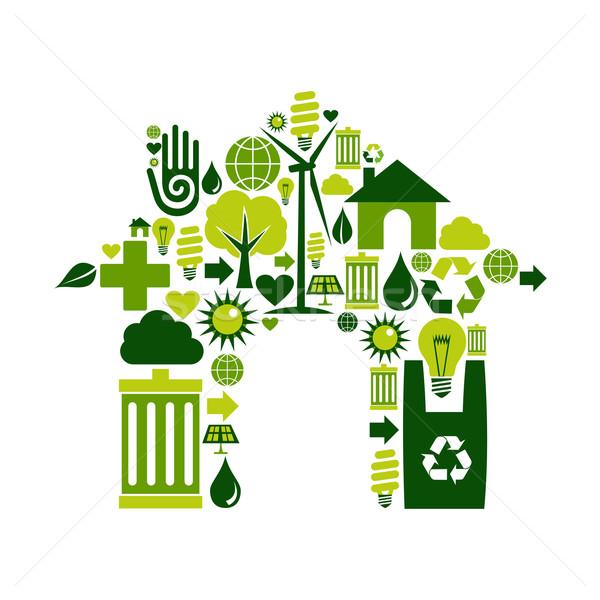 Stockfoto: Huis · symbool · milieu · iconen · silhouet · collectie
