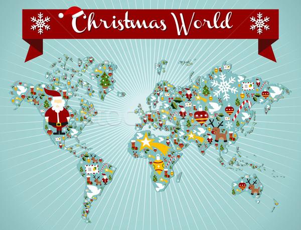 Foto stock: Natal · globo · mapa · mapa · do · mundo · vetor