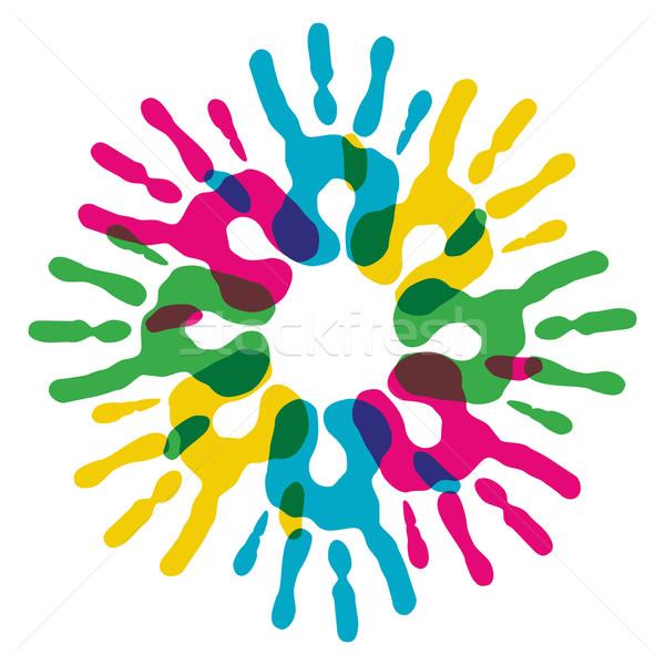 Multicolor diversity hands circle Stock photo © cienpies