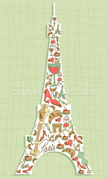 Travel Paris icon set Eiffel tower Stock photo © cienpies