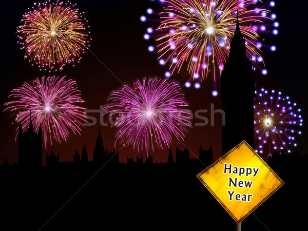 Happy New Year English fireworks Stock photo © cienpies