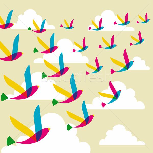 Сток-фото: прозрачный · птиц · шаблон · весны · прозрачность · Flying