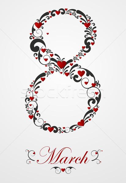 Женский день карт сердце цветочный Элементы Сток-фото © cienpies