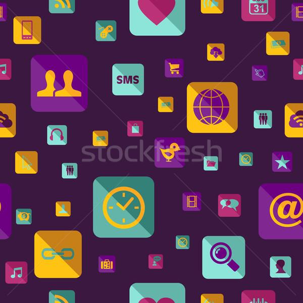 Social media icon pattern Stock photo © cienpies