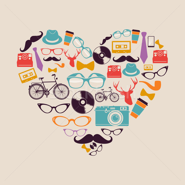Colorful vintage hipsters love elements Stock photo © cienpies