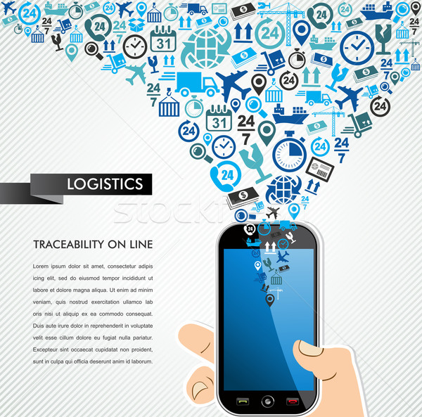 Shipping logistics mobile human hand icons splash. Stock photo © cienpies