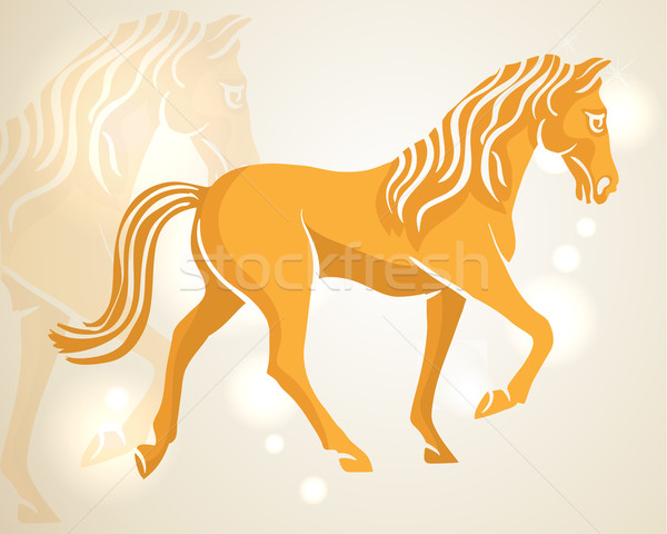 Chinese New Year 2014 walking horse Stock photo © cienpies