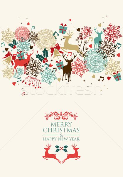 Stock photo: Merry Christmas postal card transparency