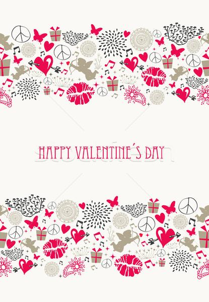 Stock photo: Retro Valentines day postcard collection