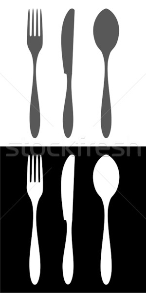 Fork, knife and spoon icons Stock photo © cienpies