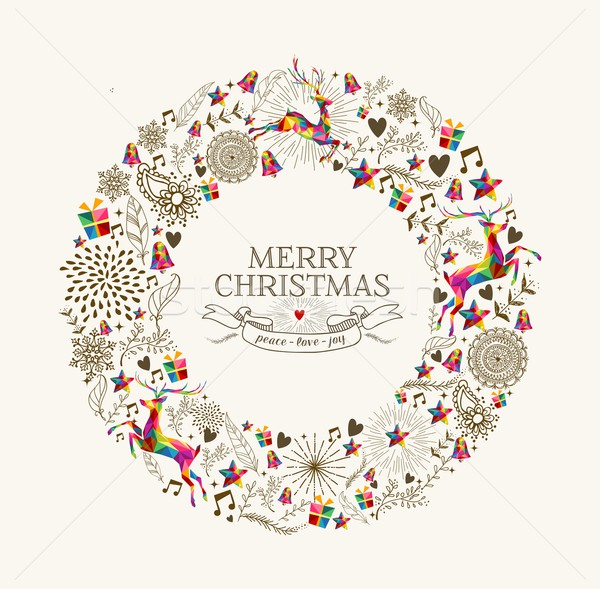 Vintage Christmas wreath greeting card Stock photo © cienpies