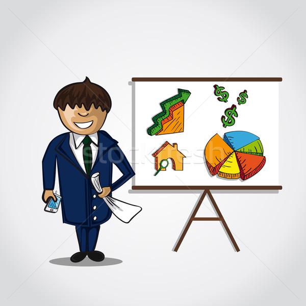 Bussinesman real estate presentation concept Stock photo © cienpies