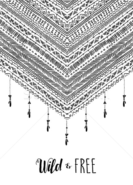 Wild free boho design in black and white  Stock photo © cienpies