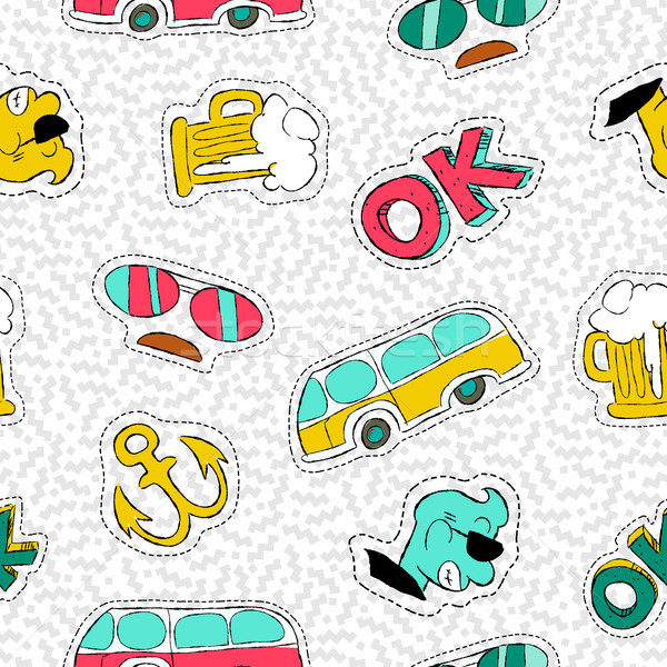 Retro hand drawn patch icon seamless pattern Stock photo © cienpies
