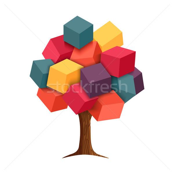 Renkli 3D ağaç geometrik örnek soyut Stok fotoğraf © cienpies