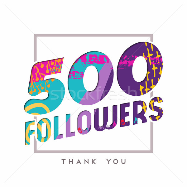 500 Internet takipçi numara teşekkür ederim şablon Stok fotoğraf © cienpies