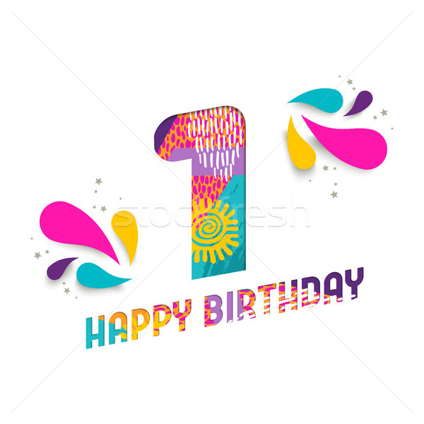 Happy birthday 1 one year paper cut greeting card Stock photo © cienpies