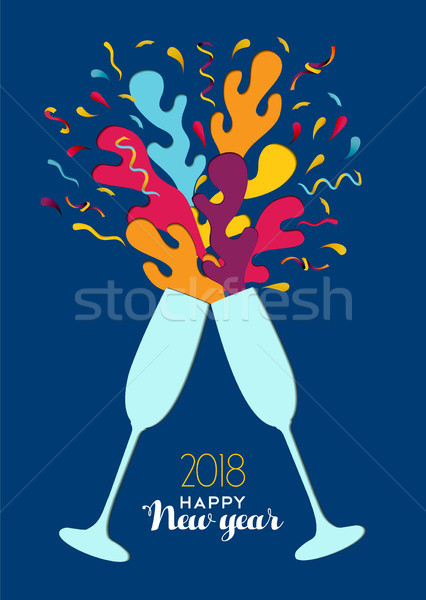 New Year 2018 colorful party drink toast card Stock photo © cienpies