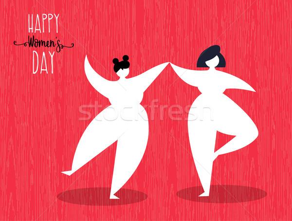 Día de la mujer tarjeta de felicitación baile feliz ilustración Foto stock © cienpies