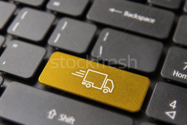 Rapide camion de livraison Ouvrir la portable clé expédition Photo stock © cienpies