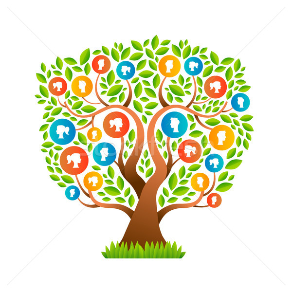 Family tree with man and woman icons concept Stock photo © cienpies