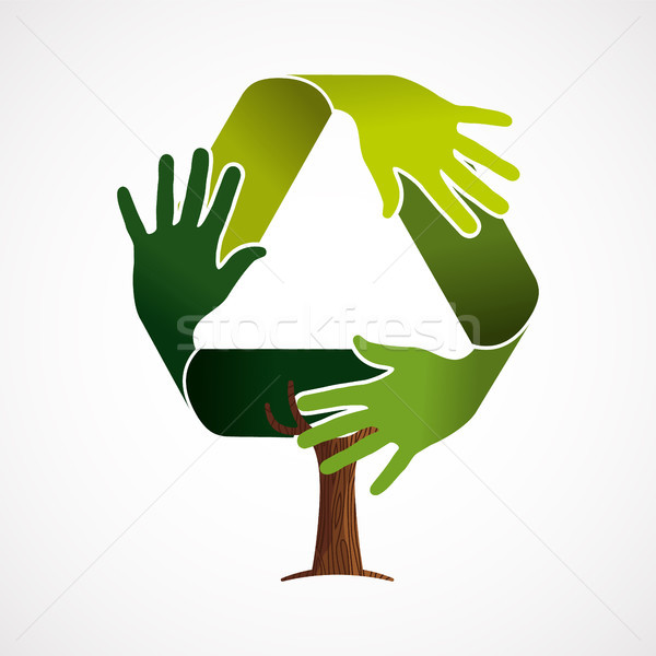 Green tree concept for recycling teamwork Stock photo © cienpies