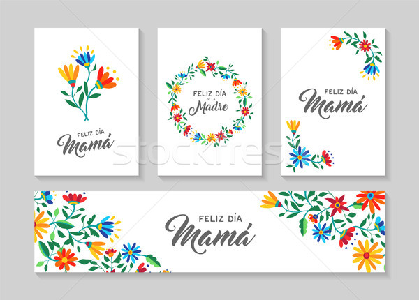 Happy mother day spanish flower art card set Stock photo © cienpies