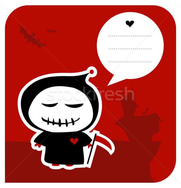 Funny grim reaper halloween greeting card Stock photo © cienpies