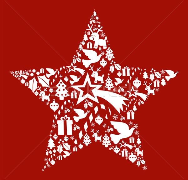 Foto stock: Natal · estrela · forma · cartão · postal · vetor
