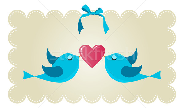 Twitter love couple birds Stock photo © cienpies