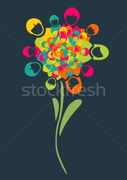 Pessoas flor perfil ícones Foto stock © cienpies