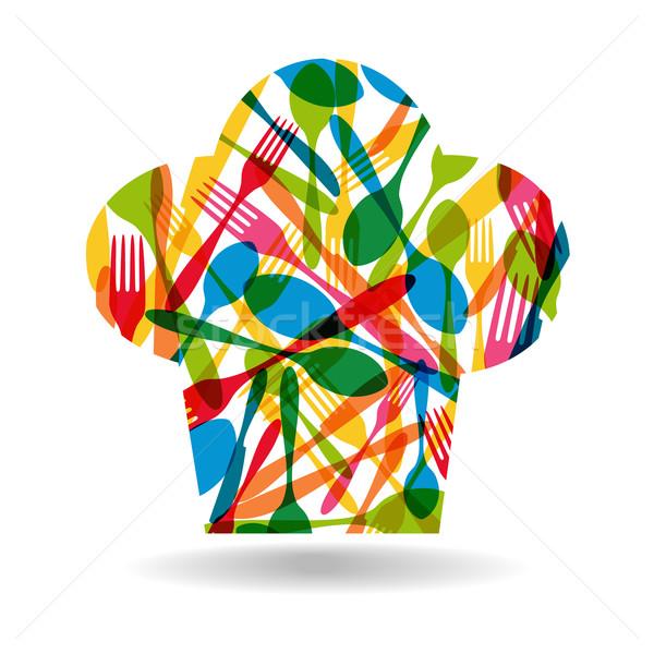 Evőeszköz szakács sapka illusztráció színes edények minta Stock fotó © cienpies