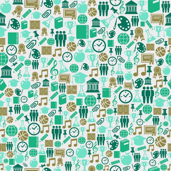 Stock fotó: Vissza · az · iskolába · ikonok · oktatás · végtelen · minta · zöld · illusztráció