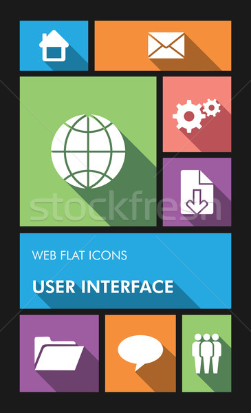 Colorful web apps user interface flat icons. Stock photo © cienpies