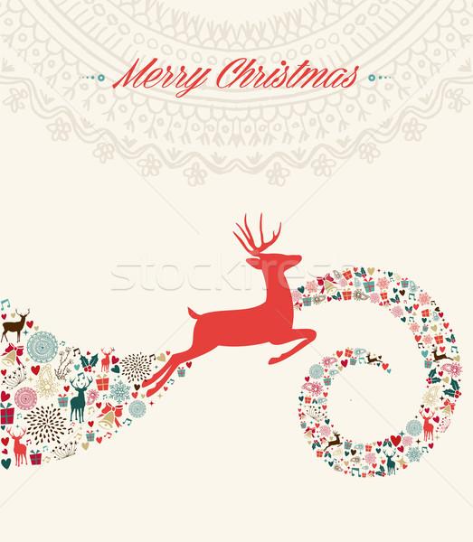 Stok fotoğraf: Noel · ren · geyiği · tebrik · kartı · örnek · bağbozumu · geyik