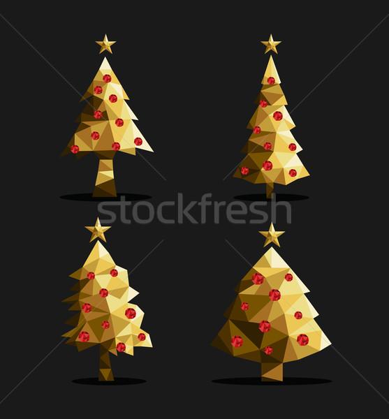 金 クリスマスツリー セット ポリゴン 三角形 低い ストックフォト © cienpies