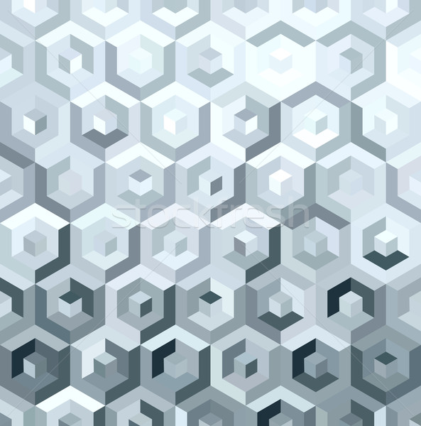 Metal silver isometric low poly seamless pattern Stock photo © cienpies