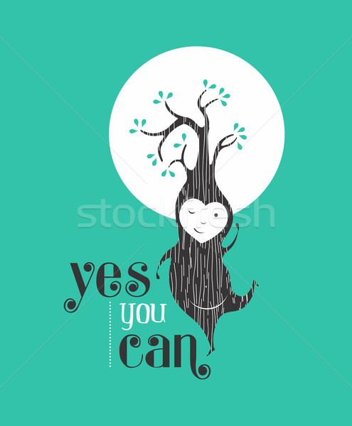 Stock photo: Yes you can motivation quote greeting card elf
