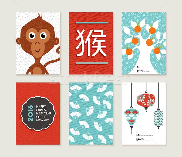Китайский Новый год 2016 обезьяны карт набор Cute Сток-фото © cienpies