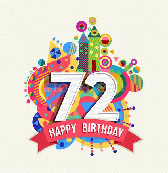Urodziny rok kartkę z życzeniami plakat kolor dwa Zdjęcia stock © cienpies