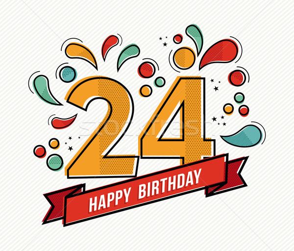 Colorful happy birthday number 24 flat line design Stock photo © cienpies