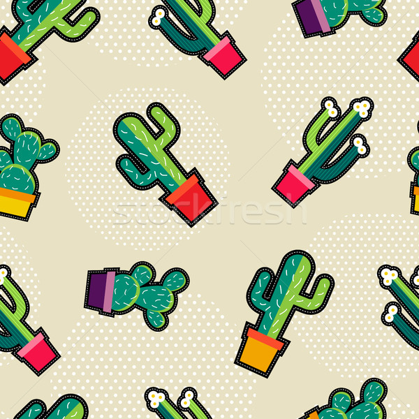 Cute stitching cactus plant icons seamless pattern Stock photo © cienpies