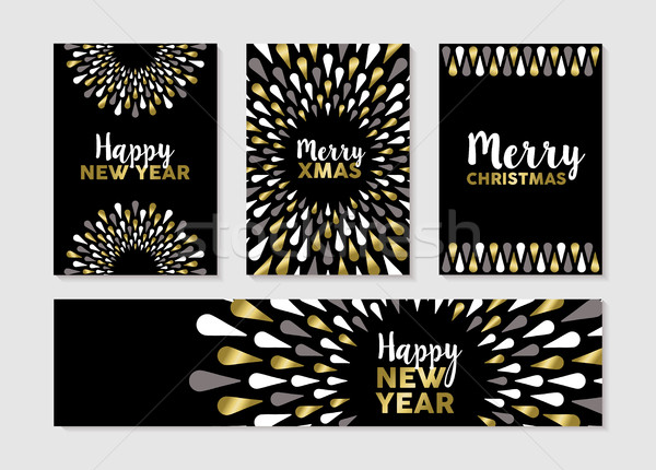 Christmas and new year set of gold card designs Stock photo © cienpies