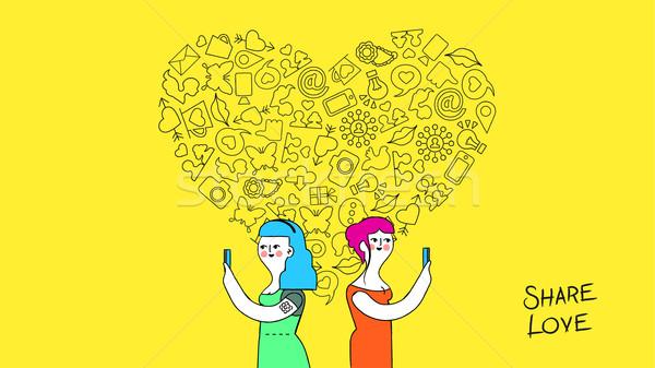 女性 友情 愛 インターネット 芸術 ソーシャルメディア ストックフォト © cienpies