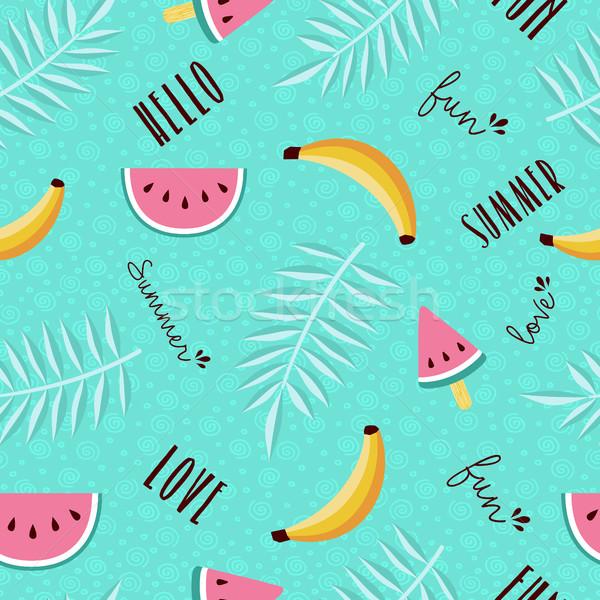Summer fun seamless pattern of tropical fruit Stock photo © cienpies