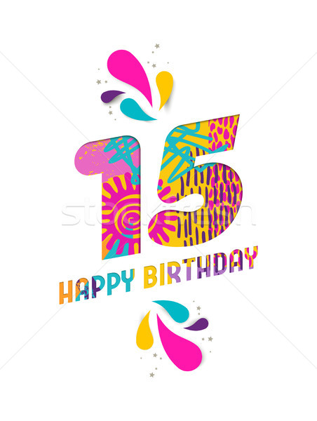 Happy Birthday 15 Year Paper Cut Greeting Card Vector Illustration