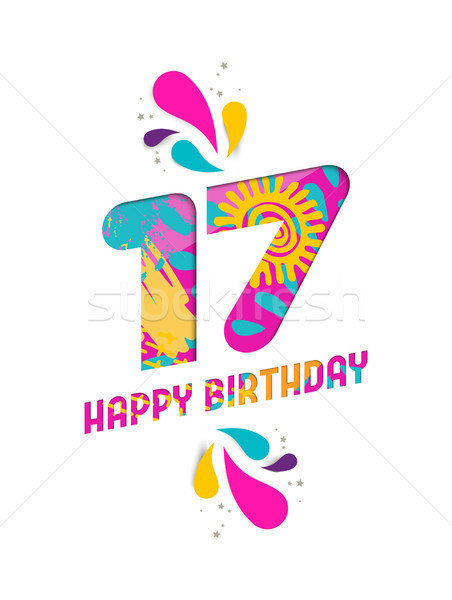 Happy birthday 17 year paper cut greeting card Stock photo © cienpies