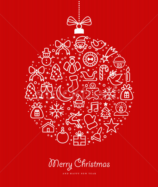 Stock photo: Christmas and new year bauble outline icon design